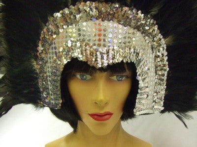 Moulin Rouge Showgirl Headdress ~ Silver