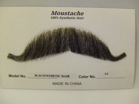 Hand Made Moustache M34 Edwardian 44 grey mix  theatrical Human Hair
