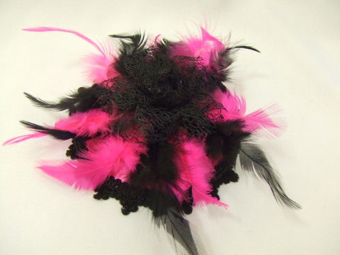 1920's / 1930's / 1940's Mini Hat ~ Pink and black ~ Fascinator ~ Showgirl