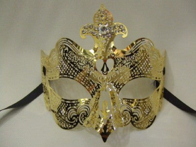 855C Gold Metal and Diamante Venetian Mask ~ Masquerade ball ~ 18th century