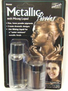Mehron Metallic Powder With Mixing Liquid ~ Bronze effect ~ Body ~ Face ~ make-up ~ Theatrical