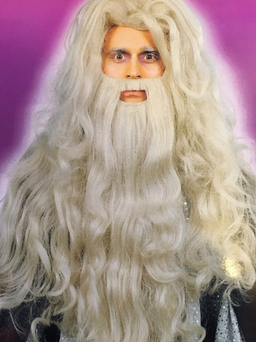 Deluxe Grey Wizard wig and Beard Set ~ Gandalf Sorcerer Merlin Halloween