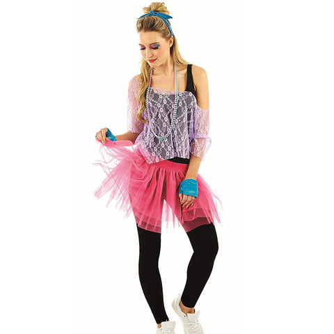 80's Lace tutu kit - Rave Disco 1980s neon Rara skirt  one size