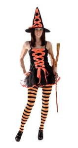 Sexy Witch ~ Orange and Black ~ One Size 8 - 12 ~ Halloween costume