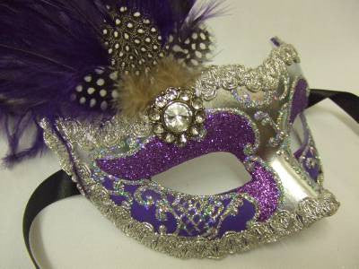 Purple and Silver Feathered Venetian Mask ~ NEW ~ 800SVT