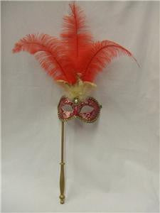 Venetian Mask on stick ~ Red and Gold Feathered ~ Masquerade