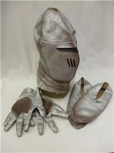 Knight Helmet, Shoes and Gloves Set ~ Silver Latex Rubber ~ Arthur ~ Lancelot ~ Medieval