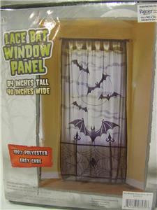 Lace Bat Window Panel  Door Decoration  Halloween Decorations  Black Lace