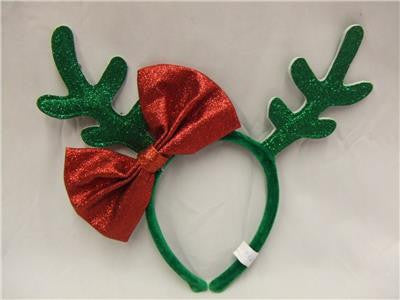 Glitter Antlers and Bow ~ Christmas Headband ~ Reindeer ~ Santas helper