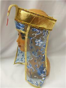 Cleopatra Headdress ~ Egyptian Queen ~ pharaoh ~ Asp ~ Snake ~ Blue and gold