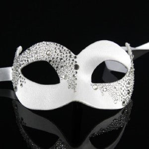 Venetian Mask ~ White satin with Crystal ~ Masquerade Ball ~ 902CABC