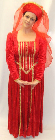 Medieval Lady  ~ Red and Gold ~ 42 ~ Hire ~ size 14