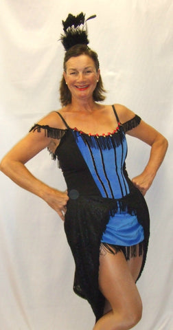 Lola ~ Showgirl Costume ~ Western ~ Blue and Black ~ Size 12 ~ fancy dress ~ Hire