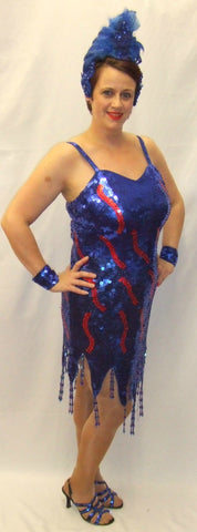 Showgirl  Longer length Chicago 1920's Blue and Red Deluxe Fancy dress  Hire ~ Size 14