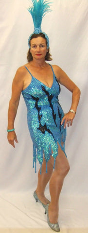 Showgirl costume turquoise and black Carnival Chicago  Deluxe fancy dress  Hire  Size 8 - 12