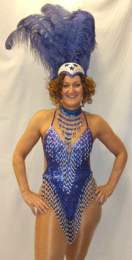 03b3db0d91b2f Showgirl Costume Blue Sequins Deluxe Fancy dress Hire Size 8 ~ 10 Greatest  Showman Moulin Rouge