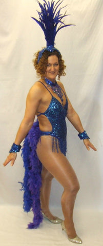 Showgirl Blue Feathers  Deluxe Fancy dress circus carnival Hire Size 8 ~ 10