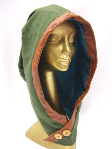 Woodland Elf Hood ~ Green medieval head piece ~ dwarf ~ robin hood hat