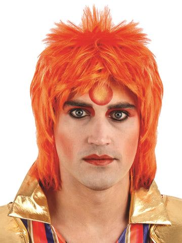 Orange Glam Rock Wig - Ziggy 1970's