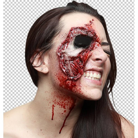 Rotten Face ~ Closer Look ~ Ghoulish latex appliance ~ Halloween make-up Zombie