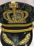 Captain Cap Purple and green Brocade Hat YMCA Festival Pride Military Boy George Size 61