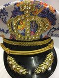 Captain Cap Purple and yellow Brocade Hat YMCA Festival Pride Military Boy George Size 61