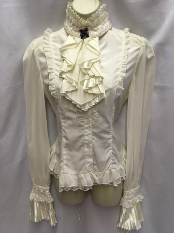 Victorian Edwardian Steam Punk Blouse Pirate Cream S Size 10 - 12 36