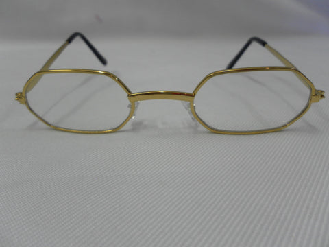 Father Christmas Hexagonal  Glasses Santa Old man gold frame fake lenses