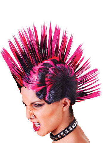 Pink Mohican Punk wig - 1990's Rave Sid 1980's