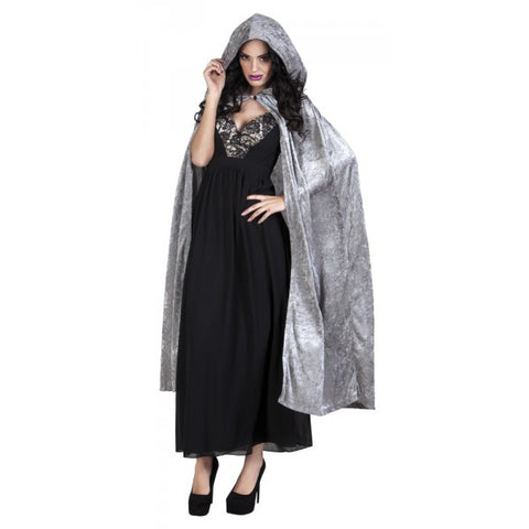 Grey Hooded Cape Halloween 170cm long Dracula Vampire Witch GOT LOTR