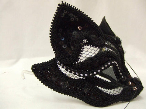 Cat Mask ~ Venetian Masquerade ~ Ball ~ Pussycat ~ Feline ~ Black Sequin