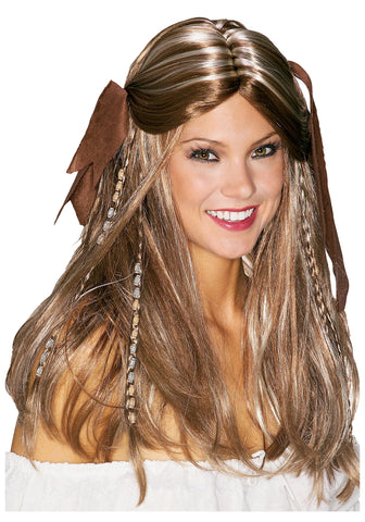 Pirate Wench wig with bandanna Caribbean Nautical 2003 movie