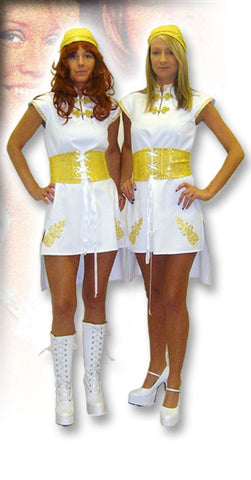 1970s Abba fancy dress ~  Hire ~ Size 10 - 12 and 14 - 16 ~ golden girl