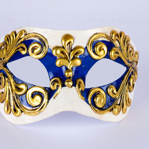 Venetian mask ~ Dark blue, cream and gold ~ Masqurade ~ Ball ~ NEW ~ 121/5BLP