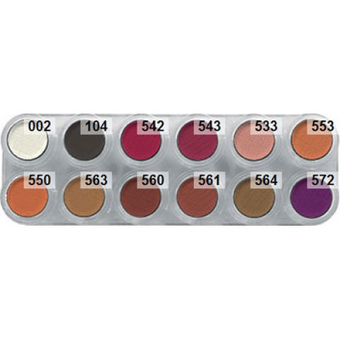 Grimas Eyeshadow / Rouge, 12-Color-Palette, Rb theatrical make-up