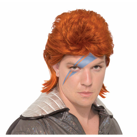 Rock Star Wig Orange Glam Rock  - Ziggy 1970's spaceman