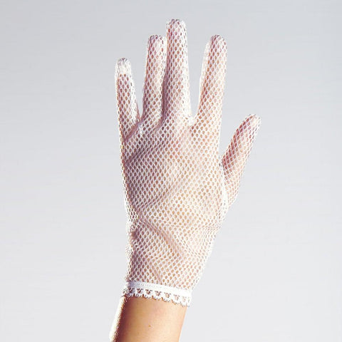 White fishnet short gloves Victorian Steam Punk 1980's