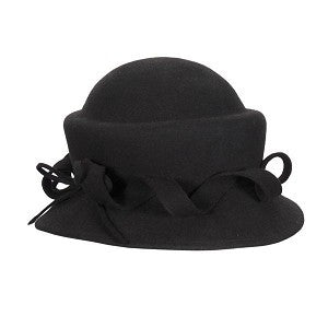 Black Pillbox Hat ~ Wool ~ Curly Bow ~ 1950s ~ 1940s ~ Edwardian ~ Wedding