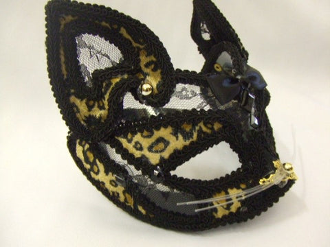 Leopard Mask ~ Venetian Masquerade ~ Ball ~ Cat ~ Feline ~ Animal Print & Black Lace