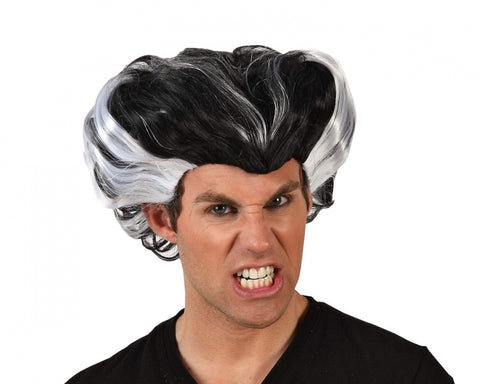 Halloween Freak Wig - Vampire Widows Peak black and white