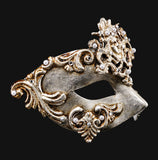 155DS ~ Silver Venetian Mask ~ Diamante and Pearl ~ Roman ~ Greek ~ Masquerade ball