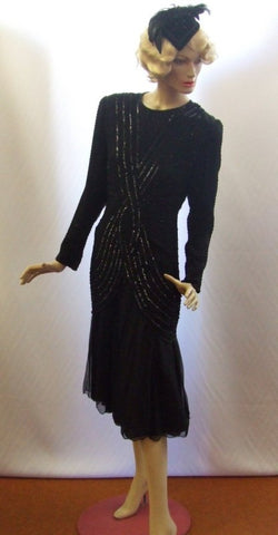 1920s Evening Dress black beaded  ~ Size 8