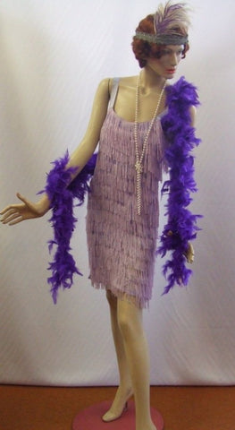 1920s Flapper Dress ~ Lilac Charleston  ~ Hire ~size 8