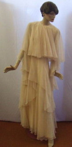 1930s Cream Chiffon Dress ~ 10 ~  1970s fancy dress Hire