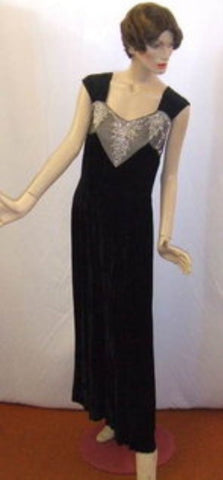 1930s Black Velvet Evening dress ~ 14 ~  Hire