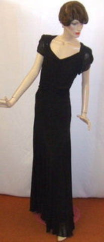 1920's / 1930s Black Beaded Chiffon Evening dress ~ 14 ~  Vintage