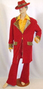 Pimp Daddy Costume ~ Red Leopard ~ 1970's ~  Hire ~ 48
