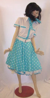 Rock n Roll  ~ 1950s fancy dress ~ Turquoise ~ Hire ~ Size 14 - 16