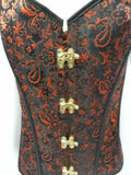 red and black steam punk bodice