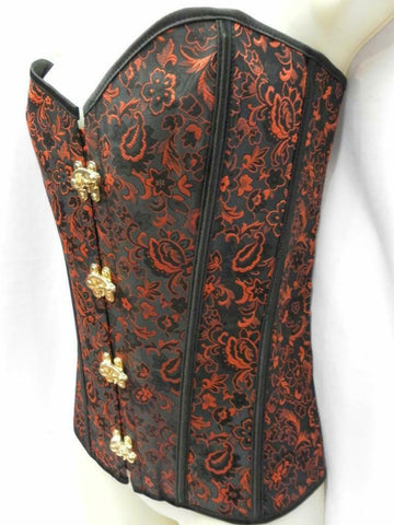Bustier Basque Red and Black Burlesque Steam Punk Size XXL 16 - 20